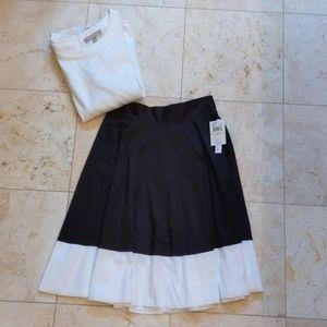 NWT-High Waisted Black and White Skirt